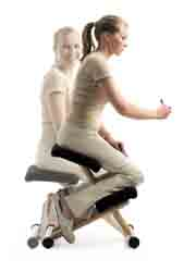 Multi� balans� Kneeling Chair uses wooden runners to distribute body weight. This automatically straightens up and balances the spine over the pelvis for back comfort.