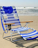 Ostrich 3N1 Beach Chair - Blue & White Stripe Model