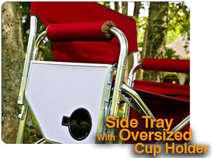 Side Tray with Oversized Cup Holder