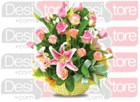 Basket of Seasonal Flowers with green fillers