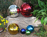 yard decor with glass gazing globes