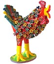 Folk Art Clay Floral Screaming Chicken