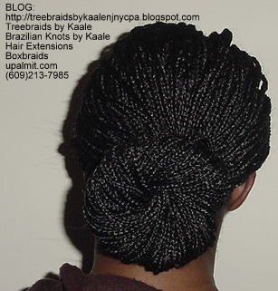 Boxbraids with Bun- Back.