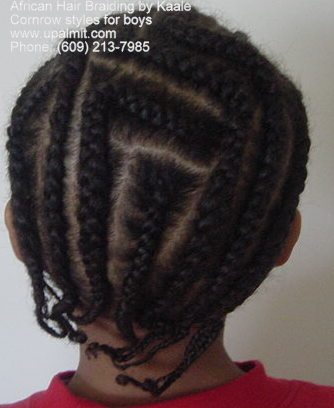 Boys cornrow styles- Angles, back view in new jersey (NJ, PA, NY) by Kaale.