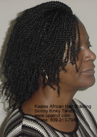 Skinny, short kinky twists Kaales African hair braiding.