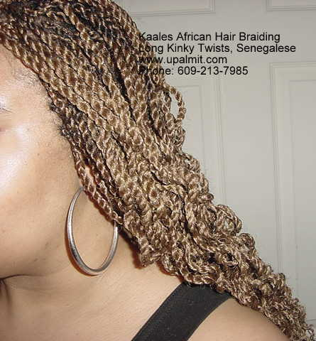 Long Senegalese Twists hair showing side angle.