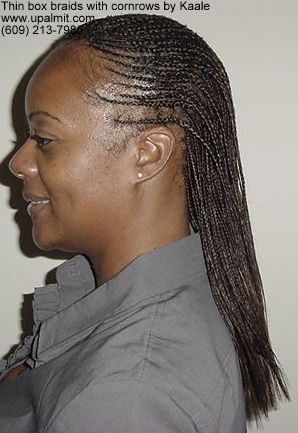 Cornrows with box braids, left.