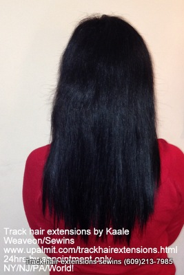 Track hair extensions with human hair.