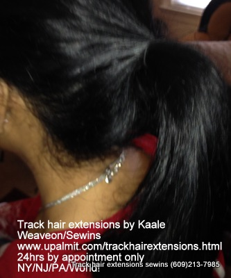 Track hair extensions- ponytail with human hair.
