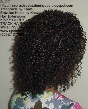 Full track hair extensions with kinky curly hair and invisible part, Right52.