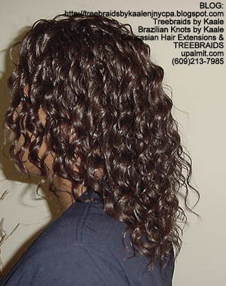 Tree Braids with wavy human hair Left304.