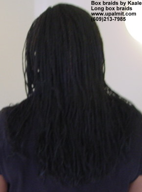Long box braids with synthetic hair, back view, hair included- by Kaales African Hair Braiding.