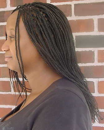 Long box braids, side view, by Kaales African Hair Braiding.
