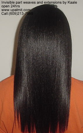 Hair extensions, full hair weave with straight hair, back view.><br><br>Straight hair weave extensions weave with invisible part.  Closed style, back view.<br><br>Image #812) g:<br><br><img src=