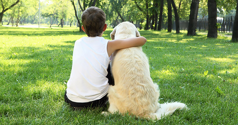 A image of a boy and a dog sit on grass