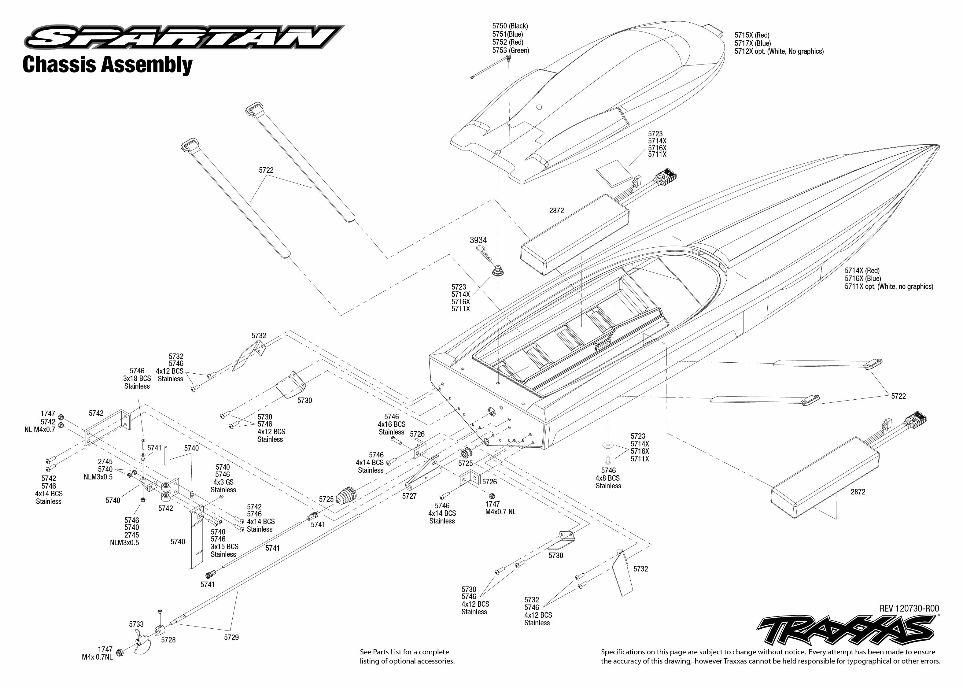 traxxas spartan brushless race boat 5707l 5707 chassis exploded view spartan vxl 6s powered by castle creations