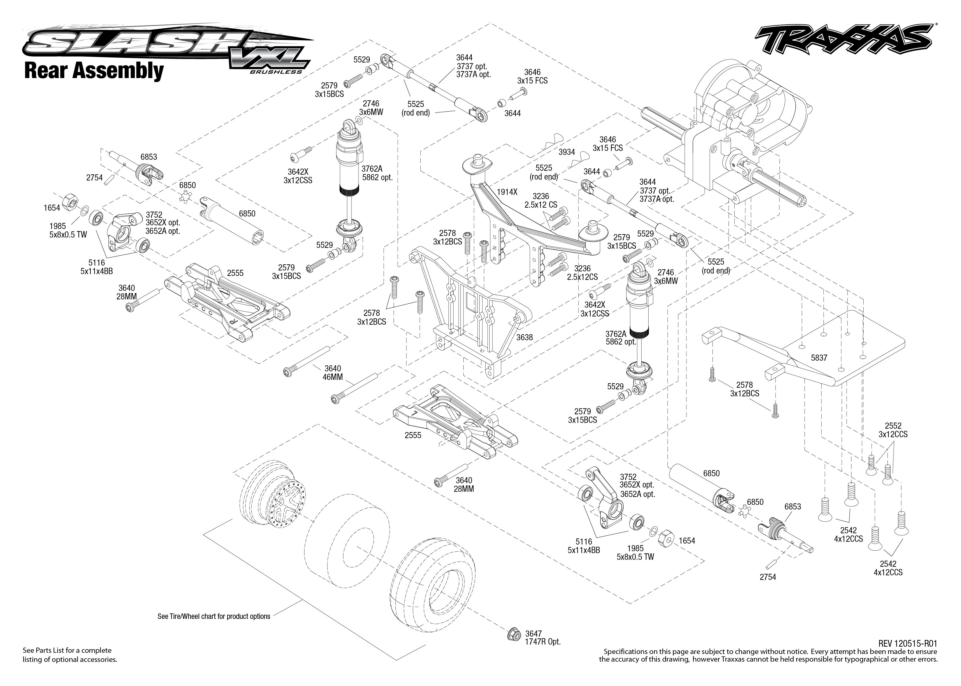 Traxxas Rustler Parts Exploded 1 10 Scale Slash 4x4 Brushless Short Course Truck 6808l Vxl 2wd 5807l