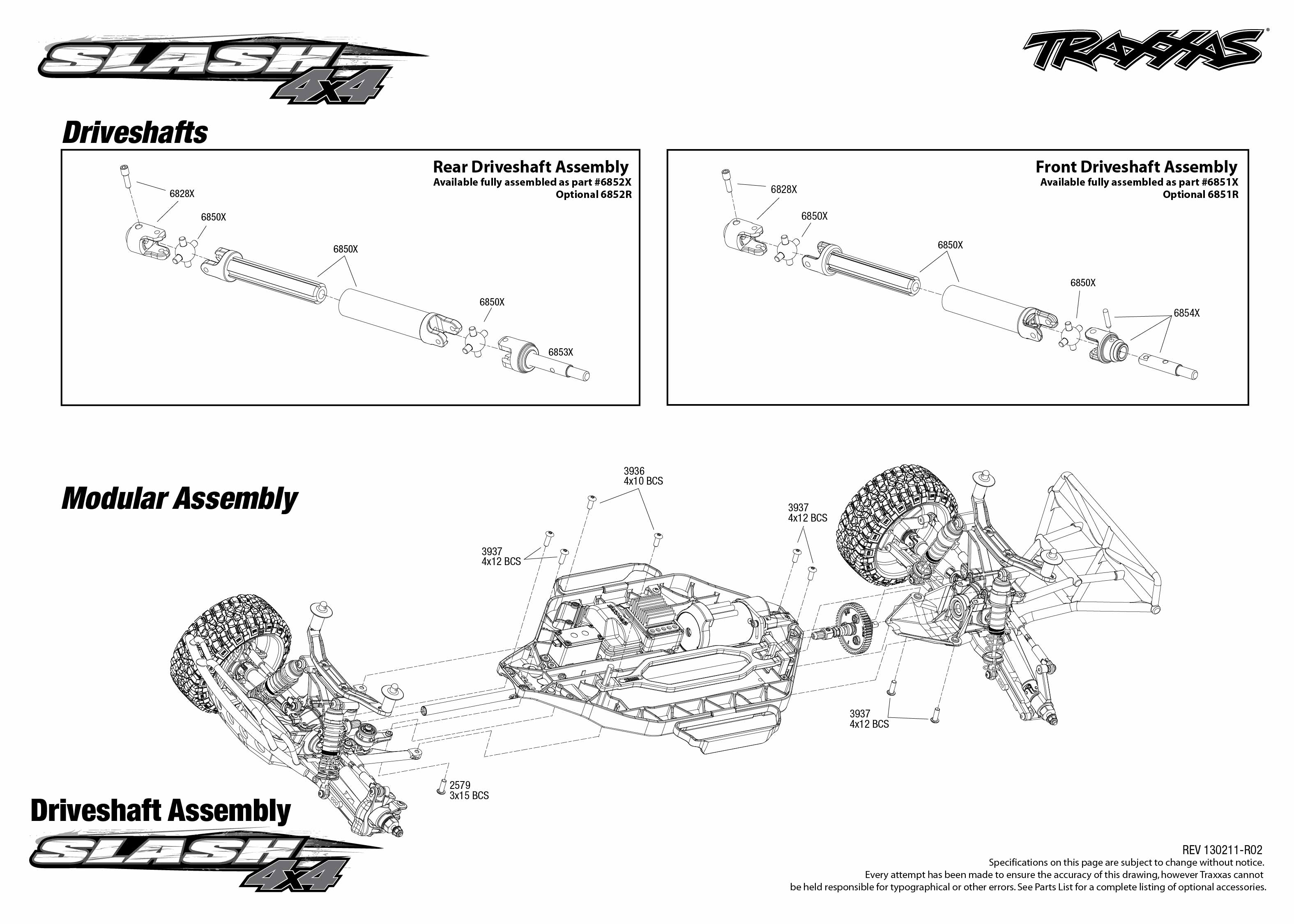 traxxas 1 10 scale slash 4x4 brushless short course truck 6808l 6808 driveshafts exploded view slash 4x4 tqi 2 4ghz radio