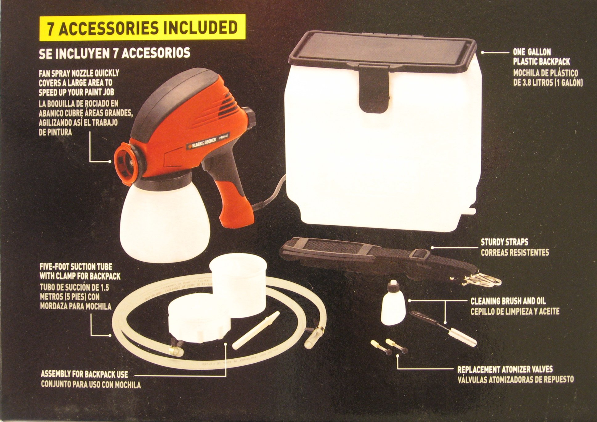 Black & Decker Pro 6.8 Paint Sprayer Back of Box