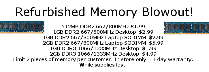 Refurbished Memory Sale