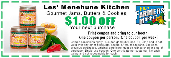 1 dollar off Les' Menehune Kitchen coupon
