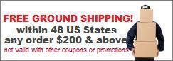 Free ground shipping over $200 within 48 US states. No restrictions.