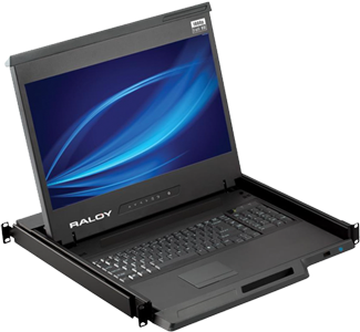 Raloy RF117HD 17 Inch LED Rackmount Monitor Console Drawer - MAC keyboard available - VGA, DVI - 8 to 32 Port KVM