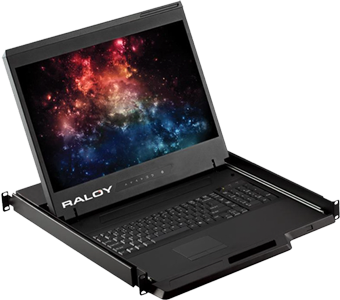 Raloy RWX119 19 Inch Rackmount Monitor Console Drawer - VGA, DVI, BNC, or HDMI - 8 to 32 Port KVM