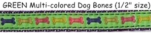 Preston GREEN Multi-colored Dog Bones 1/2-inch size