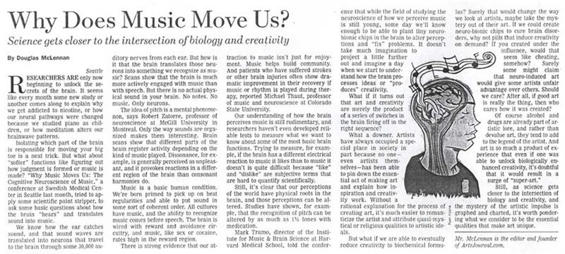 Wall Street Journal article discusses the effect of music on the brain