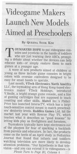 Wall Street Journal article on parental concerns of new video games for toddlers