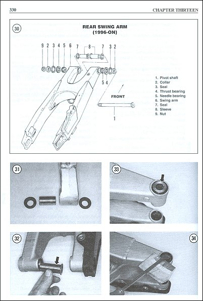 Clymer Repair Manual Repair Swing Arm Sample Page