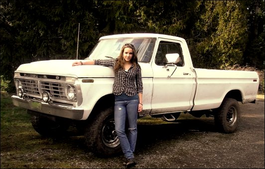 Above: Sasha La Greide poses with her 1975 Ford F250 Highboy, powered
