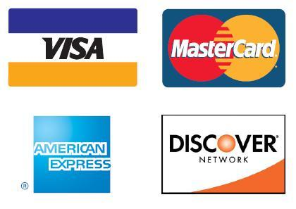 all major credit cards accepted logo. Credit Card orders require