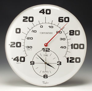 Taylor 162 Jumbo Dial Thermometer with Clock