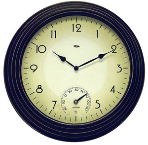 Set & Forget 45046 Combo 16-Inch Analog Wall Clock with Thermometer