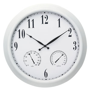 Acu-Rite 50326 24-Inch White Metal Clock with Thermometer and Hygrometer