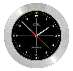HTAWI  HAA-1004M 10.5 Inch Brushed Steel Analog Atomic Wall Clock