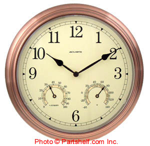 Acu-Rite 00919 Copper Clock with Thermometer and Hygrometer, 14-Inch Diameter