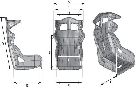OMP HTE-R Racing Seat Dimensions