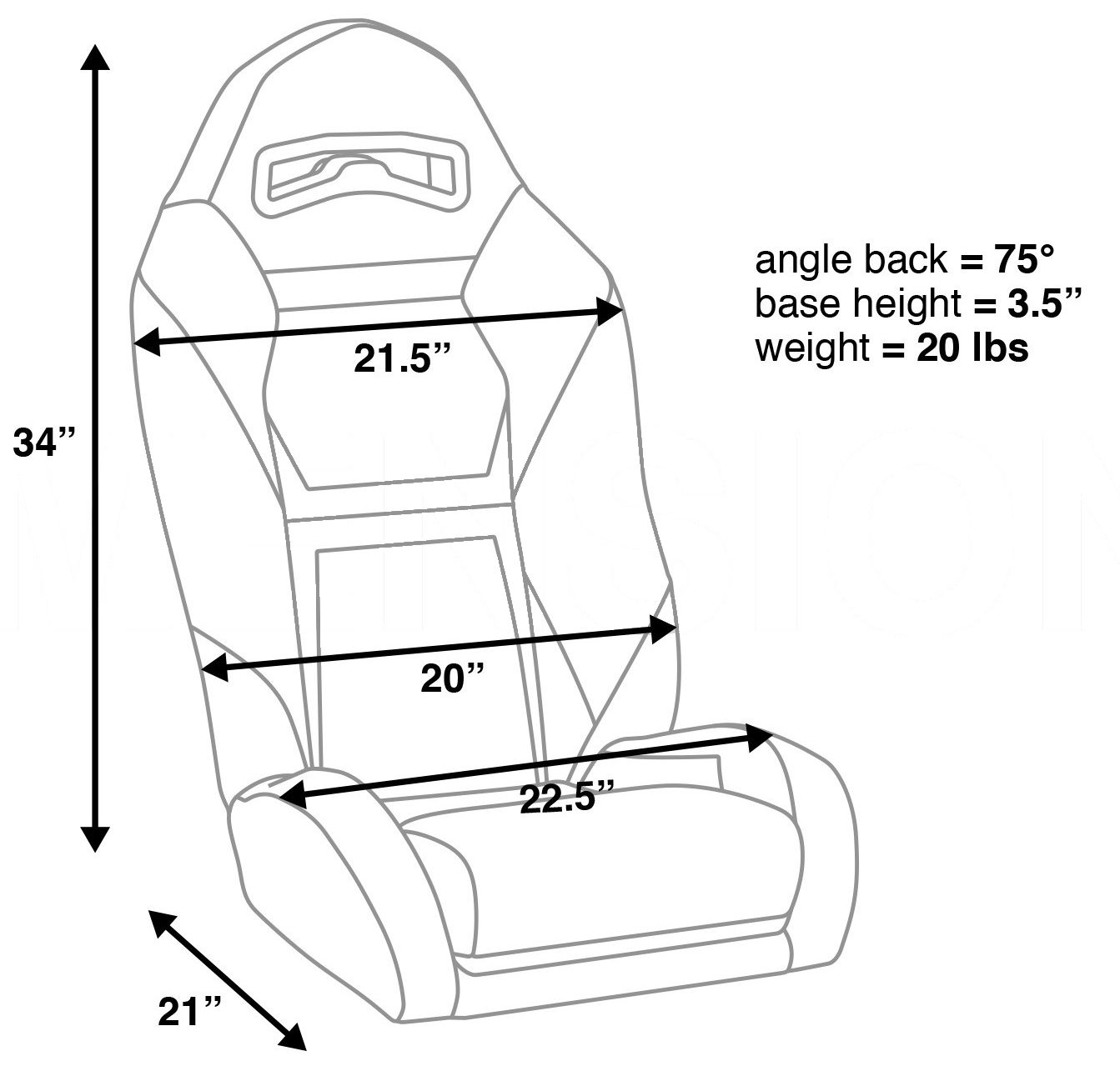 Corbeau Apex Side-by-Side RZR Seat Dimensions