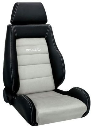 Corbeau GTS II Racing Seat Black Leather Outer/Grey Microsuede Inner LS20309 (+$206) **LS20309