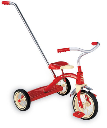 Radio Flyer Classic Red Tricycle With Push Bar