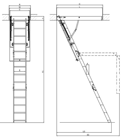 Wooden Basic Attic Ladder Various Sizes