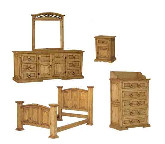 Rustic pine wood mexican rustic furniture mexican imports for Rustic bedroom furniture