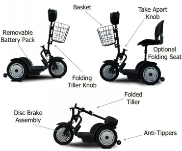 SNR-1000 3 Wheel electric scooter- Dimensions