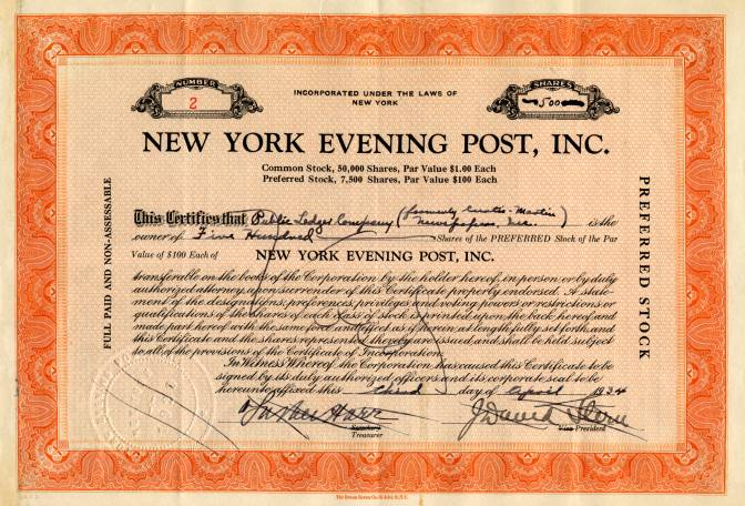 New York Evening Post, Inc. - New York 1934