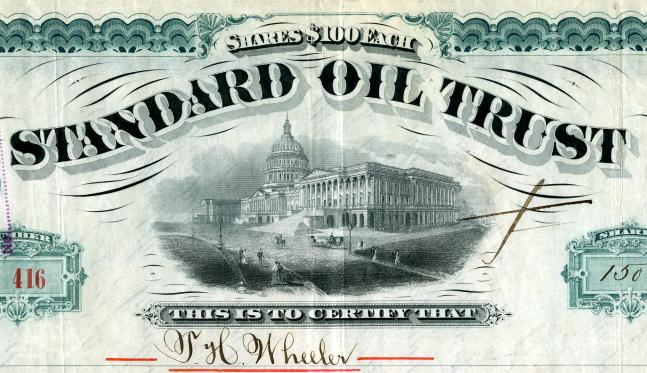 standard oil trust Click here for standard oil stock certificates we have available for sale beautifully engraved certificate (low serial number #163) from the famous standard oil trust issued in 1882.