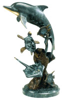 Dolphin and Friends Bronze Nautical Sculpture Collectible