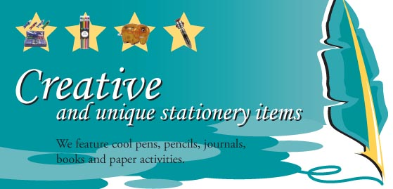 we feature cool pens, pencils, journals, books and paper activities